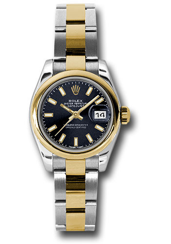 Rolex Watches - Datejust Lady - Steel and Gold Yellow Gold - Domed Bezel - Oyster - Style No: 179163 bkso