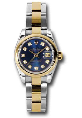 Rolex Watches - Datejust Lady - Steel and Gold Yellow Gold - Domed Bezel - Oyster - Style No: 179163 bldo