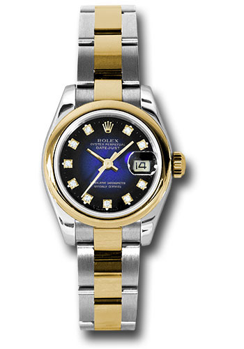 Rolex Watches - Datejust Lady - Steel and Gold Yellow Gold - Domed Bezel - Oyster - Style No: 179163 blvdo