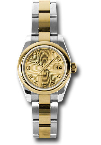 Rolex Watches - Datejust Lady - Steel and Gold Yellow Gold - Domed Bezel - Oyster - Style No: 179163 chcao