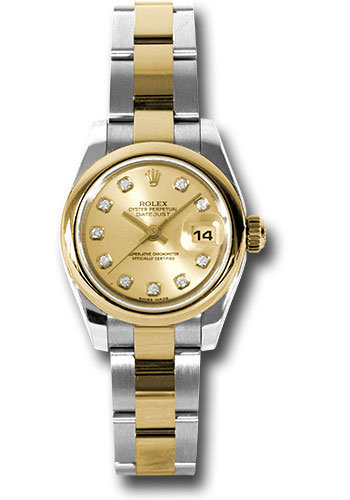 Rolex Watches - Datejust Lady - Steel and Gold Yellow Gold - Domed Bezel - Oyster - Style No: 179163 chdo