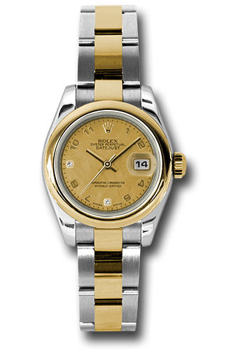 Rolex Watches - Datejust Lady - Steel and Gold Yellow Gold - Domed Bezel - Oyster - Style No: 179163 chgdmdao