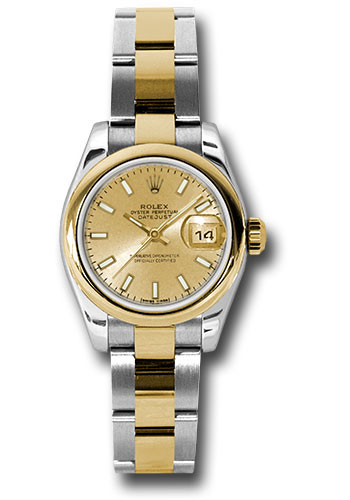 Rolex Watches - Datejust Lady - Steel and Gold Yellow Gold - Domed Bezel - Oyster - Style No: 179163 chso