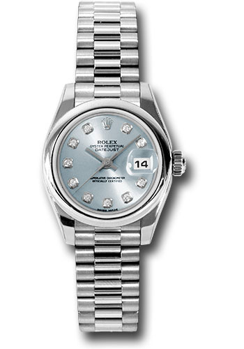 Rolex Watches - Datejust Lady - Platinum President Domed Bezel - President Bracelet - Style No: 179166 gbdp