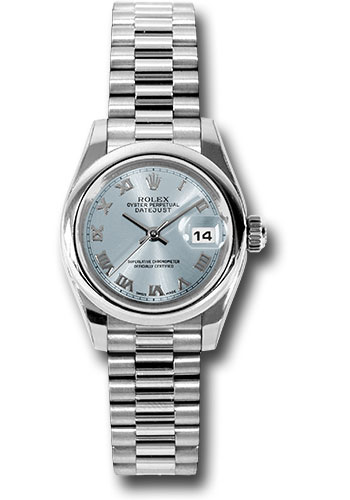 Rolex Watches - Datejust Lady - Platinum President Domed Bezel - President Bracelet - Style No: 179166 gbrp