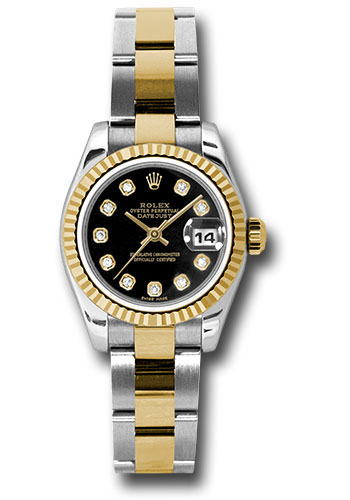 Rolex Watches - Datejust Lady - Steel and Gold Yellow Gold - Fluted Bezel - Oyster - Style No: 179173 bkdo