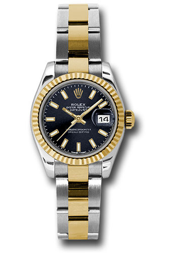 Rolex Watches - Datejust Lady - Steel and Gold Yellow Gold - Fluted Bezel - Oyster - Style No: 179173 bkso