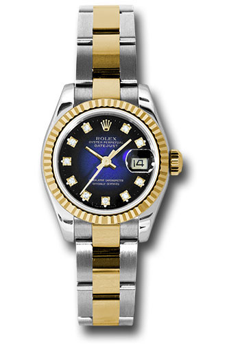 Rolex Watches - Datejust Lady - Steel and Gold Yellow Gold - Fluted Bezel - Oyster - Style No: 179173 blvdo