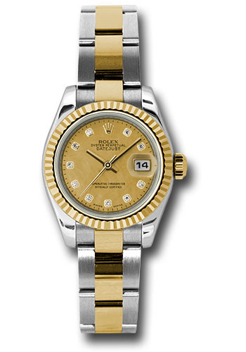 Rolex Watches - Datejust Lady - Steel and Gold Yellow Gold - Fluted Bezel - Oyster - Style No: 179173 chgdmdo