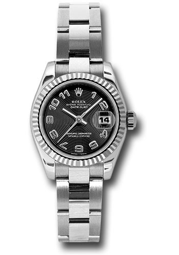 Rolex Steel and White Gold Lady,Datejust 26 Watch , Fluted Bezel , Black  Concentric Circle Arabic Dial , Oyster Bracelet , 179174 bkcao