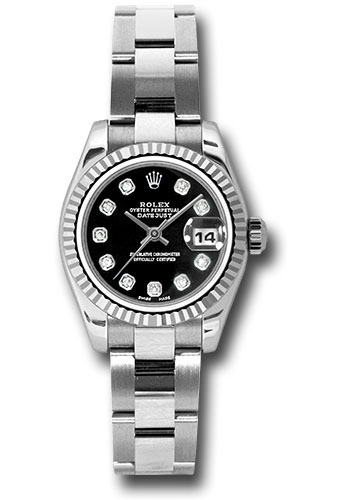 Rolex Watches - Datejust Lady - Steel Fluted Bezel - Oyster Bracelet - Style No: 179174 bkdo
