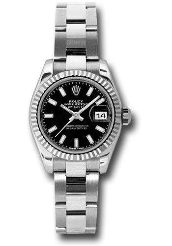 Rolex Watches - Datejust Lady - Steel Fluted Bezel - Oyster Bracelet - Style No: 179174 bkso