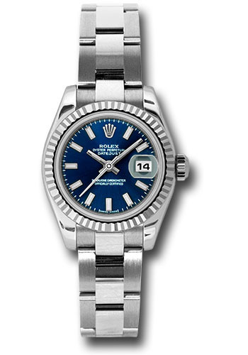 Rolex Watches - Datejust Lady - Steel Fluted Bezel - Oyster Bracelet - Style No: 179174 blso