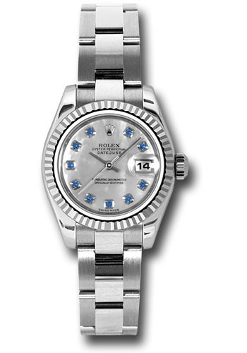 Rolex Watches - Datejust Lady - Steel Fluted Bezel - Oyster Bracelet - Style No: 179174 msao