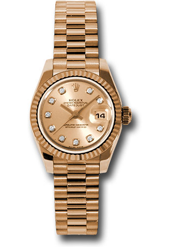 Rolex Watches - Datejust Lady - Gold President Pink Gold - Fluted Bezel - President - Style No: 179175 chdp