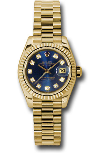 Rolex Watches - Datejust Lady - Gold President Yellow Gold - Fluted Bezel - President - Style No: 179178 bldp