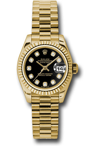 Rolex Watches - Datejust Lady - Gold President Yellow Gold - Fluted Bezel - President - Style No: 179178 bkdp