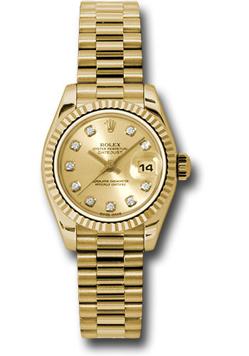 Pre-Owned Rolex Watches - Datejust Lady - Gold President Yellow Gold - Fluted Bezel - President - Style No: V179178chdp