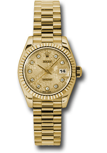 Rolex Watches - Datejust Lady - Gold President Yellow Gold - Fluted Bezel - President - Style No: 179178 chjdp