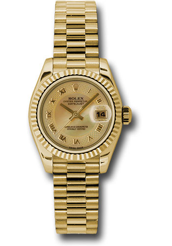 Rolex Watches - Datejust Lady - Gold President Yellow Gold - Fluted Bezel - President - Style No: 179178 chmdrp