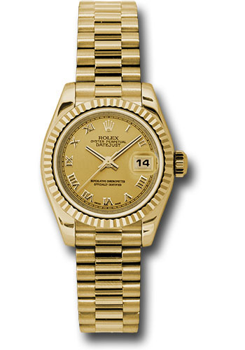 Rolex Watches - Datejust Lady - Gold President Yellow Gold - Fluted Bezel - President - Style No: 179178 chrp