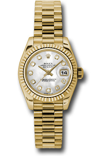 Rolex Watches - Datejust Lady - Gold President Yellow Gold - Fluted Bezel - President - Style No: 179178 mdp