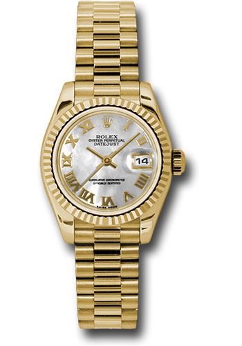 Rolex Watches - Datejust Lady - Gold President Yellow Gold - Fluted Bezel - President - Style No: 179178 mrp