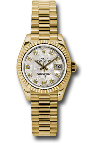 Rolex Watches - Datejust Lady - Gold President Yellow Gold - Fluted Bezel - President - Style No: 179178 mtdp