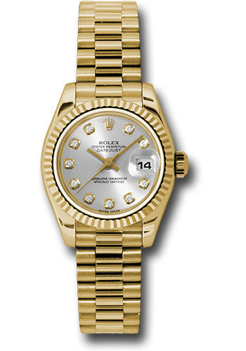 Rolex Watches - Datejust Lady - Gold President Yellow Gold - Fluted Bezel - President - Style No: 179178 sdp