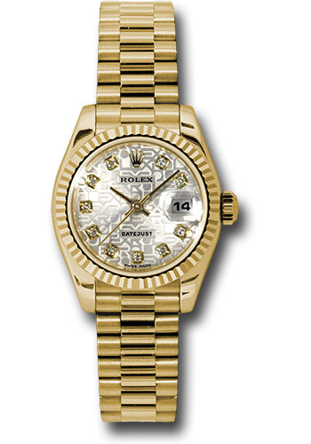 Rolex Watches - Datejust Lady - Gold President Yellow Gold - Fluted Bezel - President - Style No: 179178 sjdp