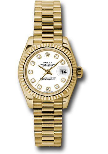Rolex Watches - Datejust Lady - Gold President Yellow Gold - Fluted Bezel - President - Style No: 179178 wdp