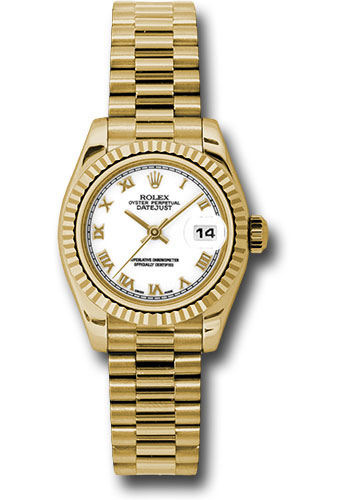 Rolex Watches - Datejust Lady - Gold President Yellow Gold - Fluted Bezel - President - Style No: 179178 wrp
