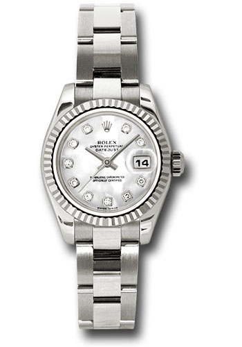 Rolex Watches - Datejust Lady - Gold President White Gold - Fluted Bezel - Oyster - Style No: 179179 mdo
