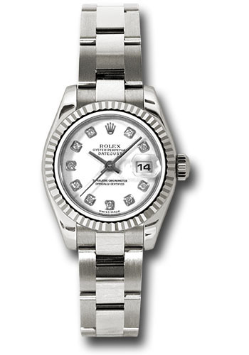 Rolex Watches - Datejust Lady - Gold President White Gold - Fluted Bezel - Oyster - Style No: 179179 wdo