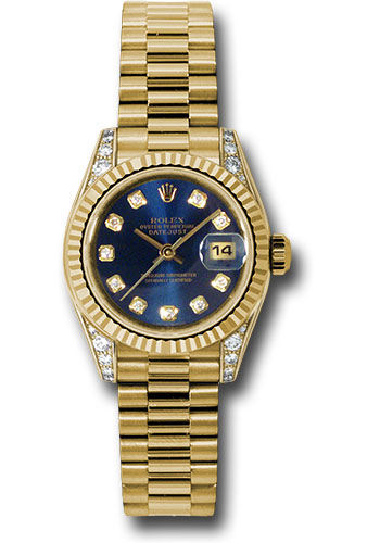 Rolex Watches - Datejust Lady - Gold President Yellow Gold - Fluted Bezel - President - Style No: 179238 bldp