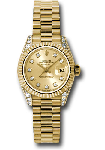 Rolex Watches - Datejust Lady - Gold President Yellow Gold - Fluted Bezel - President - Style No: 179238 chdp