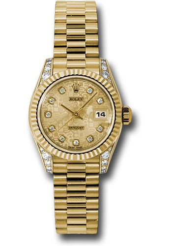 Rolex Watches - Datejust Lady - Gold President Yellow Gold - Fluted Bezel - President - Style No: 179238 chjdp