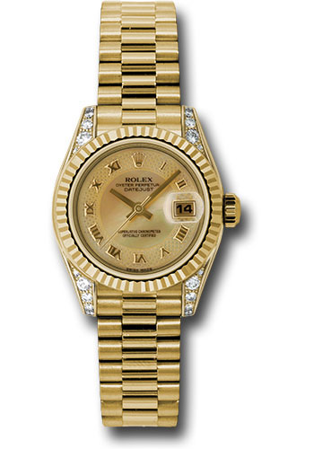 Rolex Watches - Datejust Lady - Gold President Yellow Gold - Fluted Bezel - President - Style No: 179238 chmdrp