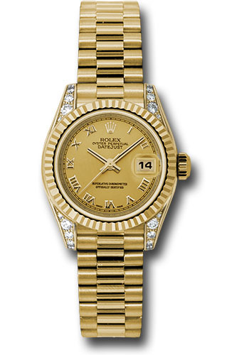 Rolex Watches - Datejust Lady - Gold President Yellow Gold - Fluted Bezel - President - Style No: 179238 chrp