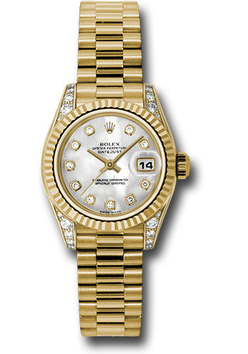 Rolex Watches - Datejust Lady - Gold President Yellow Gold - Fluted Bezel - President - Style No: 179238 mdp