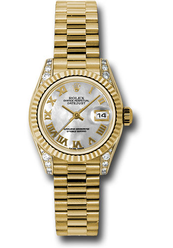 Rolex Watches - Datejust Lady - Gold President Yellow Gold - Fluted Bezel - President - Style No: 179238 mrp