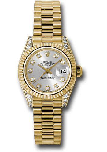 Rolex Watches - Datejust Lady - Gold President Yellow Gold - Fluted Bezel - President - Style No: 179238 sdp