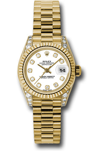 Rolex Watches - Datejust Lady - Gold President Yellow Gold - Fluted Bezel - President - Style No: 179238 wdp