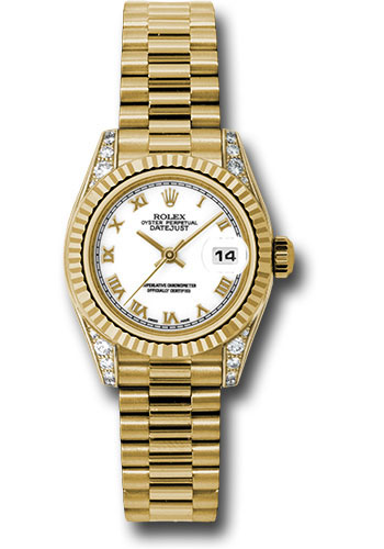 Rolex Watches - Datejust Lady - Gold President Yellow Gold - Fluted Bezel - President - Style No: 179238 wrp
