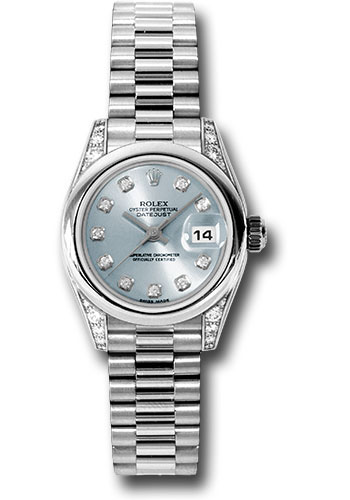 Rolex Watches - Datejust Lady - Platinum President Domed Bezel - President Bracelet - Style No: 179296 gbdp