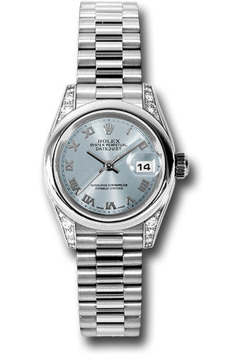 Rolex Watches - Datejust Lady - Platinum President Domed Bezel - President Bracelet - Style No: 179296 gbrp