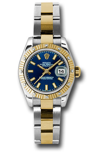 Rolex Watches - Datejust Lady - Steel and Gold Yellow Gold - 12 Dia Bezel - Oyster - Style No: 179313 bso
