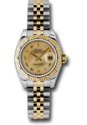 Rolex Watches - Datejust Lady - Steel and Gold Yellow Gold - 12 Dia Bezel - Jubilee - Style No: 179313 chmdrj