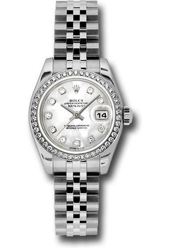 Rolex Watches - Datejust Lady - Steel 46 Diamond Bezel - Jublilee Bracelet - Style No: 179384 mdj