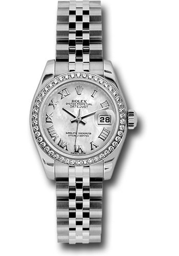 Rolex Watches - Datejust Lady - Steel 46 Diamond Bezel - Jubilee Bracelet - Style No: 179384 mrj